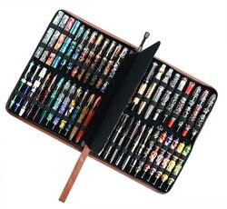 Stylo plume en cuir véritable/stylo à bille roulante pour 46 stylos sac à crayons porte-café en peau de vache, convient à divers cadeaux de bureau de taille