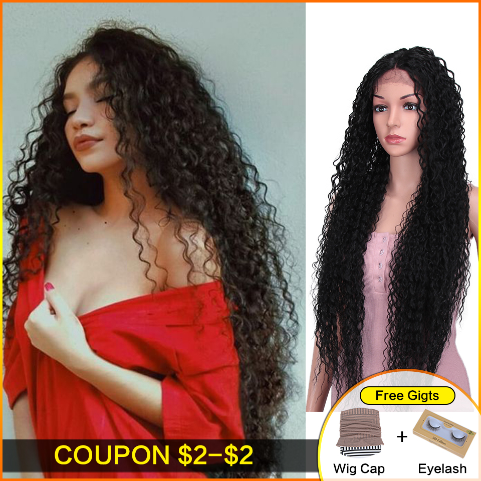 Bella Synthetic Wig Lace Front For Women Long Part 38 Inch Super Long Curly Ombre Blonde Wig With Dark Roots Wavy Heat Resistant