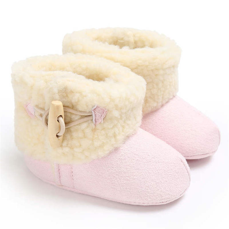 Newborn Infant Shoes Winter Warm Plush Indoor Soft Cotton Sole Non-slip 0-2 Years Gift Baby Fleece Booties First Walkers Shoes