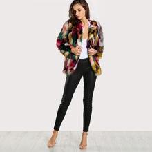 Модное приталенное пальто из искусственного меха с длинными