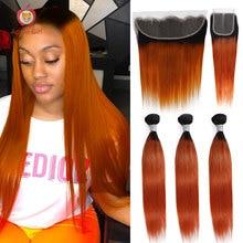 Closure Human-Hair Ginger Frontal 30inch-Bundles Orange Straight Brazilian Applegirl