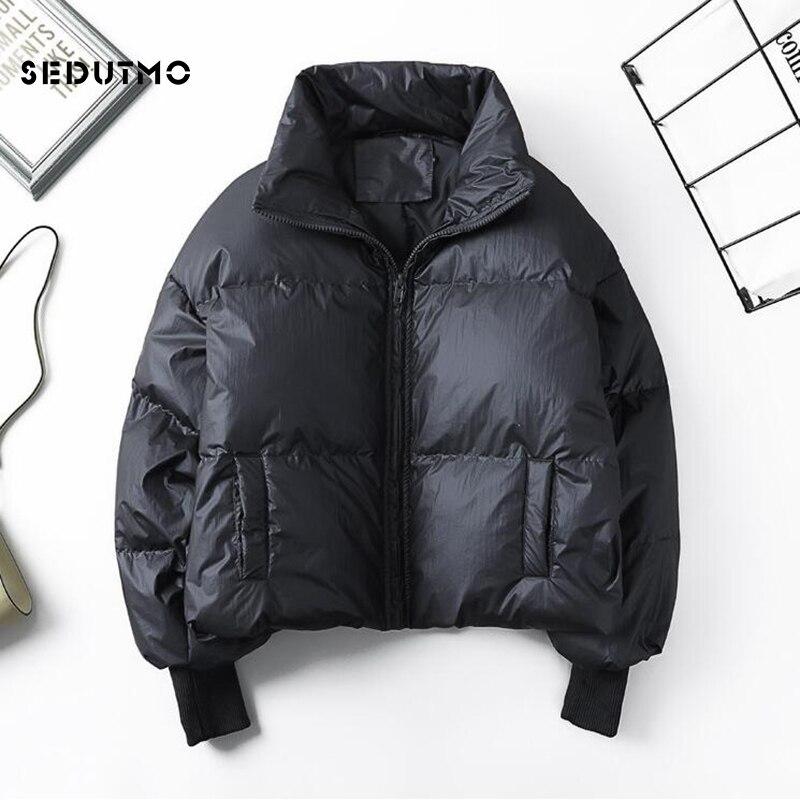 Женский пуховик на утином пуху SEDUTMO, черная короткая куртка-пуховик, повседневная Осенняя парка, ED916