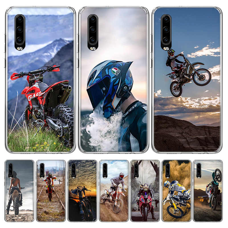 Motocross Cross Dirtbikes Cover untuk Huawei P30 P20 Mate 30 20 10 Pro P10 Lite P Smart Z + 2019 Coque Shell Capa