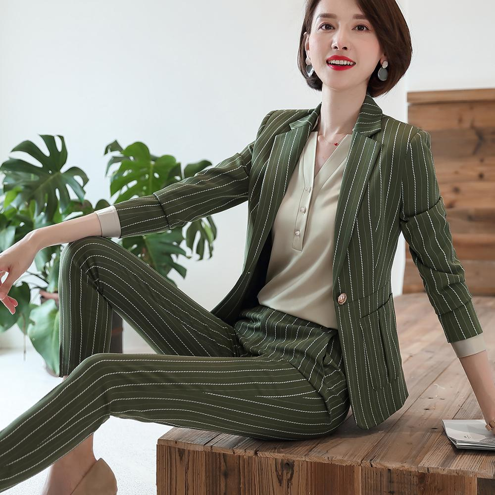 Fashion women casual pant suit largest size 5XL Green Pink Striped suit Jackets And pant 2 Piece sets suits 38