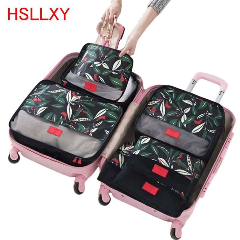 2019 Newest Hot 6Pcs Waterproof Nylon Mesh Cartoon Floral Printed Clothes Sock Packing Travel Luggage Organizer Bag Cube Storage