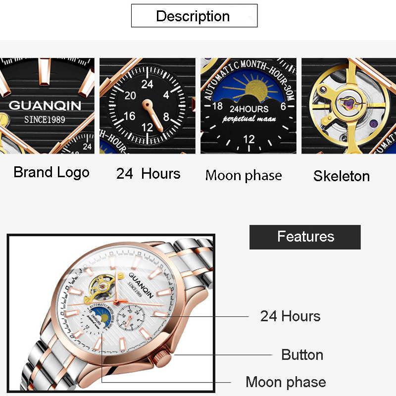 GUANQIN 2019 Nuovi uomini della vigilanza impermeabile Luminosa Automatica mens orologi top brand di lusso di scheletro di cuoio di Affari erkek kol saati