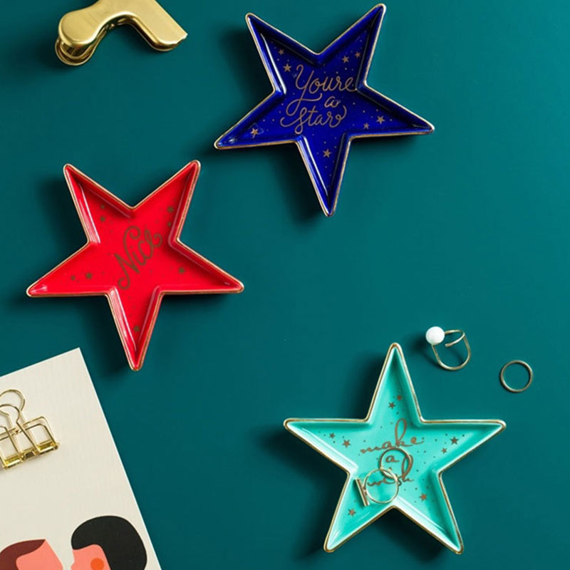 Nordic Ceramic Watermelon Starfish Small Jewelry Dish Earrings Necklace Ring Storage Plates Fruit Dessert Display Bowl Decoratio