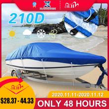 X AUTOHAUX 540/570/700 x 280/300CM 210D Trailerable Boat Cover Waterproof Fishing Ski Bass Speedboat V Shape Blue Boat Cover