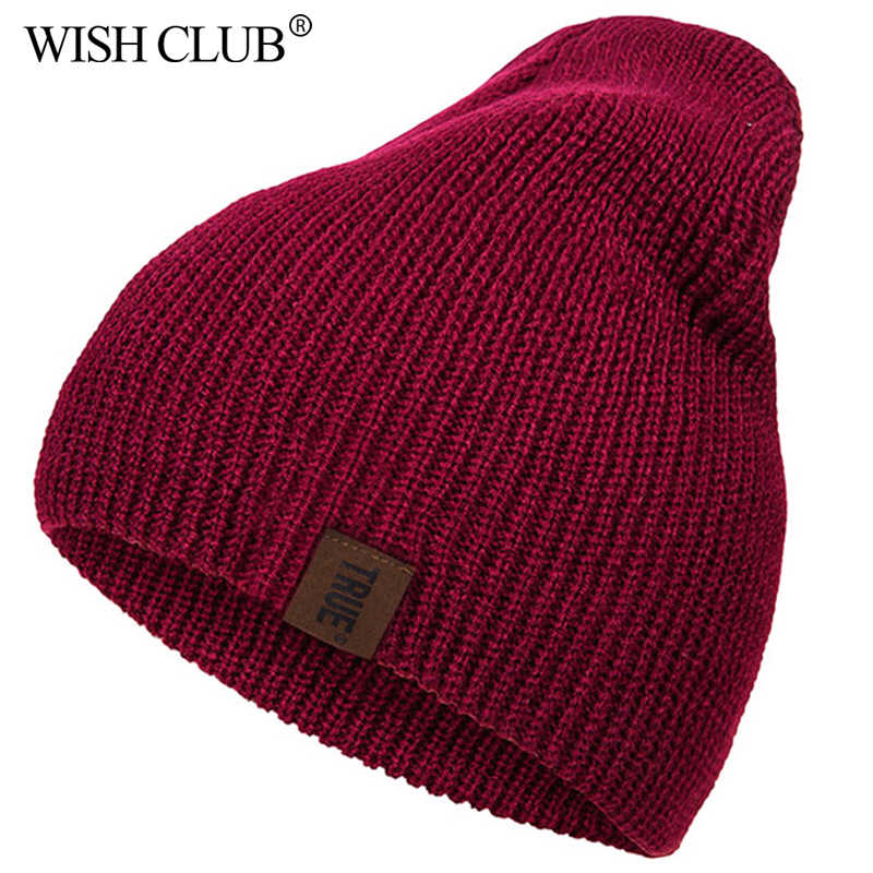 WISHCLUB Caps Winter Hoed Vrouwen Mannen Katoen Warm Fashion PU Brief Effen Hiphop Mutsen Unisex Comfortabele Breien Hoed шапка