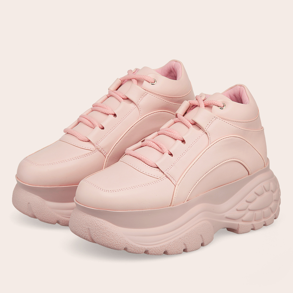 2020 Brand Pink Platform Sneakers Spring & Autumn Fashion Ladies Leather Causal Sports Shoes Woman High Chunky Shoes Thick Soled