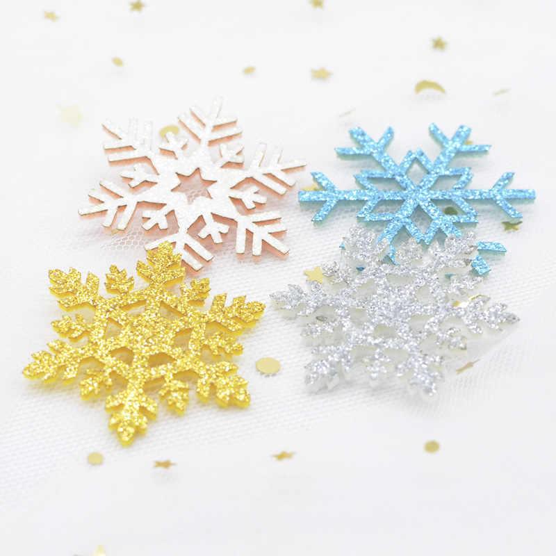 20 ชิ้น/ล็อต Glitter Snowflake Padded Appliques สำหรับ DIY ต้นคริสต์มาสหมวกแก้ว Windows ผนัง Stick-on อุปกรณ์ตกแต่งแพทช์ h73