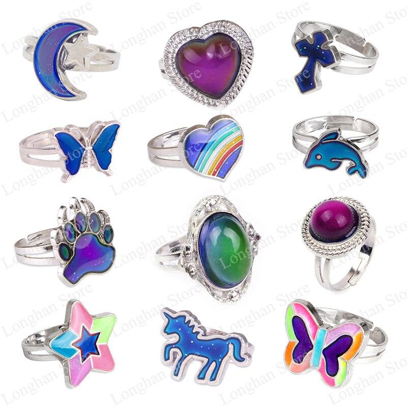 Меняющие цвет кольца для настроения для женщин, кольцо с регулируемой флуоресцентной температурой эмоций и ощущения, подарки, Модная бижут...