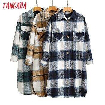 Tangada-veste Long à carreaux vert pour femmes, manteau chaud à la mode, pardessus chaud AI35, 2020, automne hiver, décontracté 1