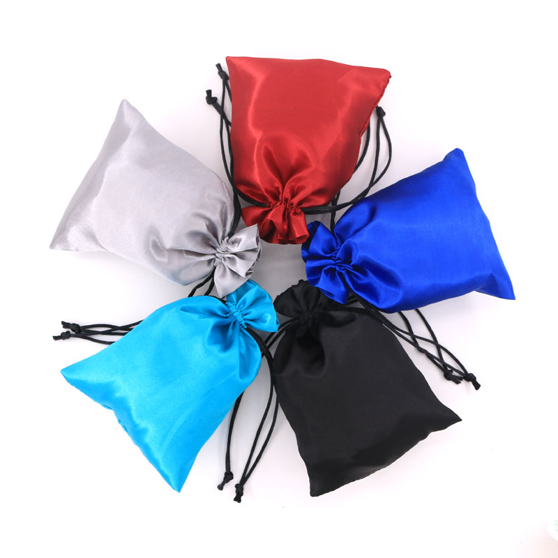 50pcs/lot 9*12cm 5 Colors Satin Silk Drawstring Pouch Wholesale Christmas Gift Jewelry Packaging Bag Custom Logo Extra Cost