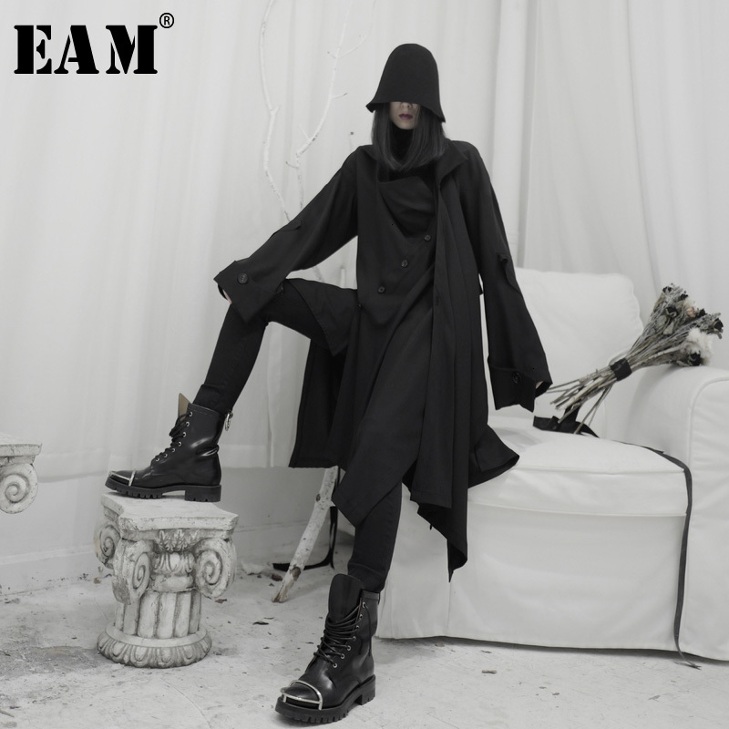[EAM] Women Long Button Asymmetrical Trench New Lapel Long Sleeve Loose Fit Windbreaker Fashion Tide Spring Autumn 2020 19A-a589