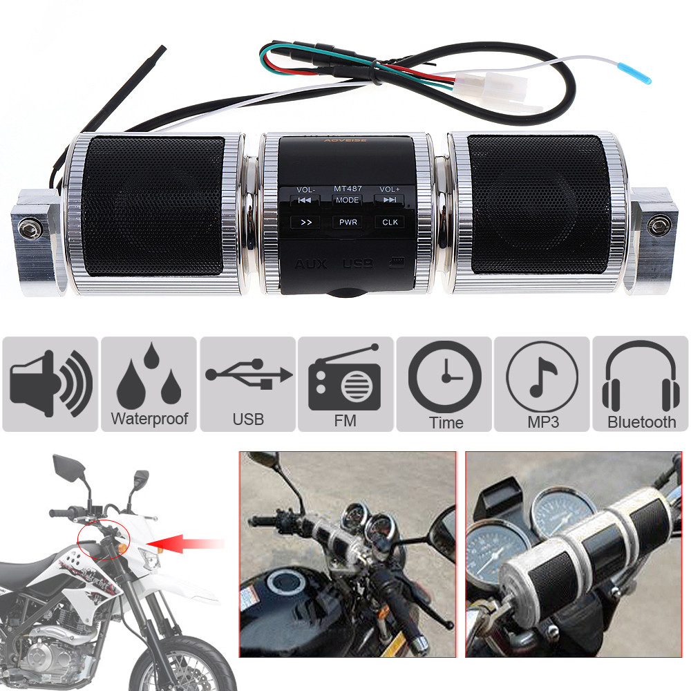 Waterproof Silver Aluminum Motorcycle Bluetooth Music Player With FM Radio And  MP3 USB Earphone Interfaces For Motorbike