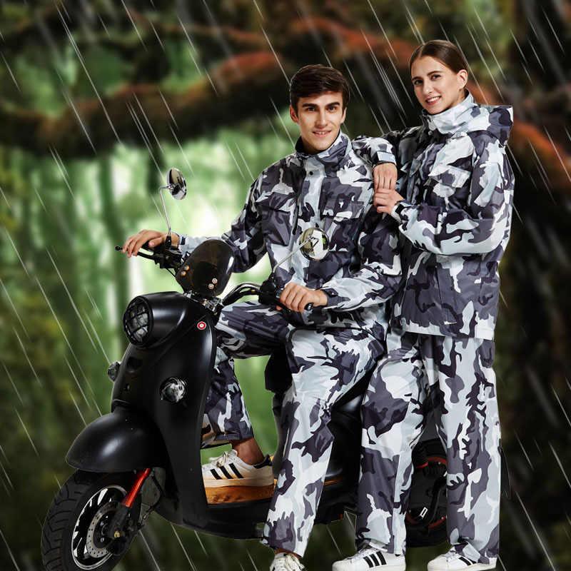Водонепроницаемый плащ для прогулок и походов непромокаемая шляпа непромокаемая Мужская камуфляжная ветровка Дождевик куртка с капюшоном мотоциклетная куртка костюм 6YY133