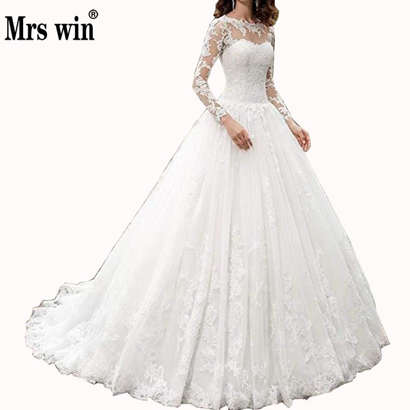 Mrs Win Vestido De Noiva Full Sleeve Classic O-neck Sweep Train Lace Up Ball Gown Princess Luxury Lace Wedding Dresses Plus Size