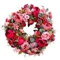 Декоративный дверной венок, Шелковый цветочный венок с пионами 40 см ручной работы, гирлянда для осени и зимы, наружный дисплей красного цвет...