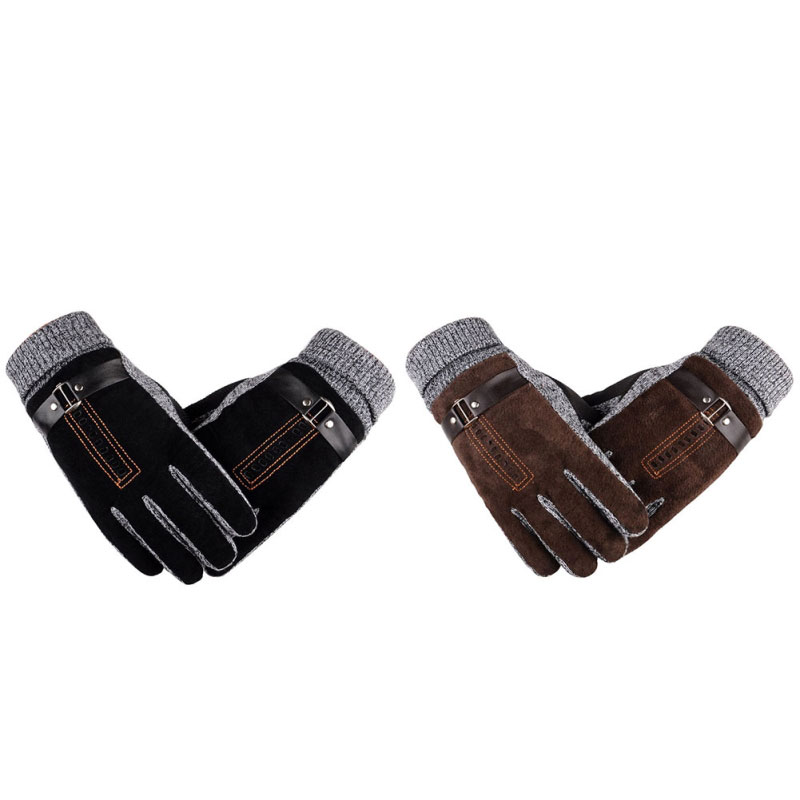 Winter Warm Gloves Outdoor Running Climbing Cycling Windproof Gloves Cold Weather Gloves Leather For Running Hiking Biking