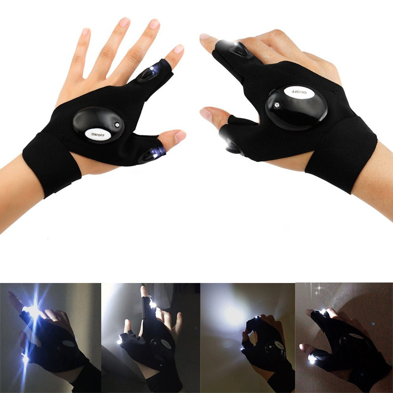 LED Flashlight Cycling Gloves Finger Light  Flashlight Torch Magic Strap Glove For Working Outdoor Fishing, Camping, Hiking,