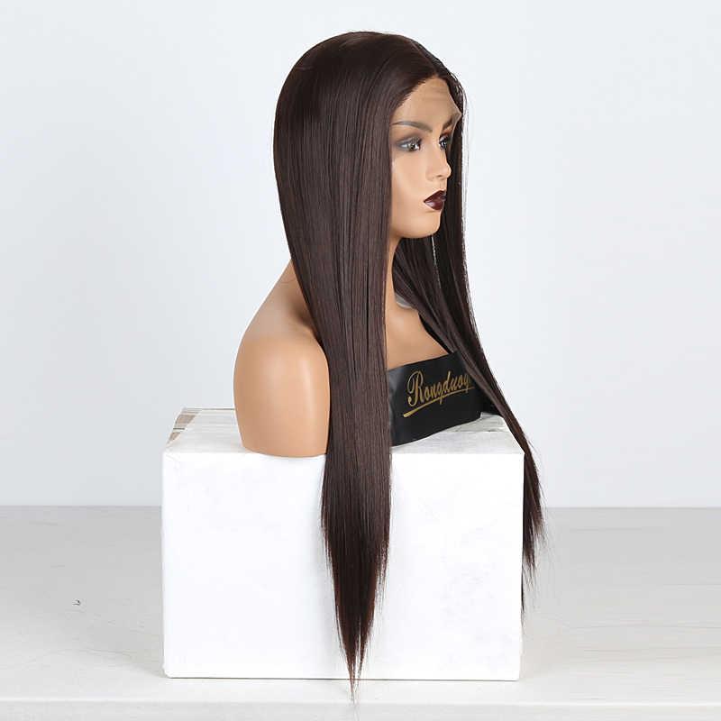 Rongduoyi peruca cabelo sintético, liso frontal, peruca longa de cabelo, resistente ao calor, feita de fibra, para mulheres, cosplay