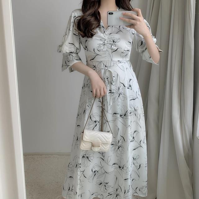 2021 Spring New Ol Slim V Neck Puff Long Sleeve Dresses Women Vintage Print Spring Long Vestidos High Waist Hip A Line Robe 2