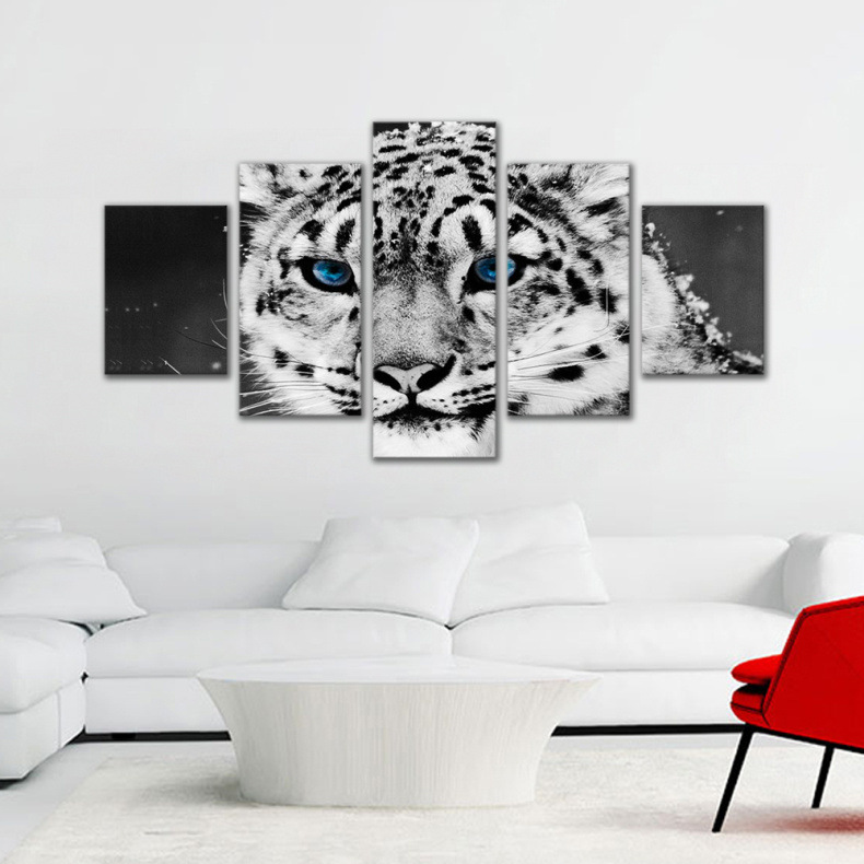 Black And White Tiger 5-frame Mosaic Home Living Room Decorational Picture Mural Wall Painting Foreign Trade Hot Selling Paintin