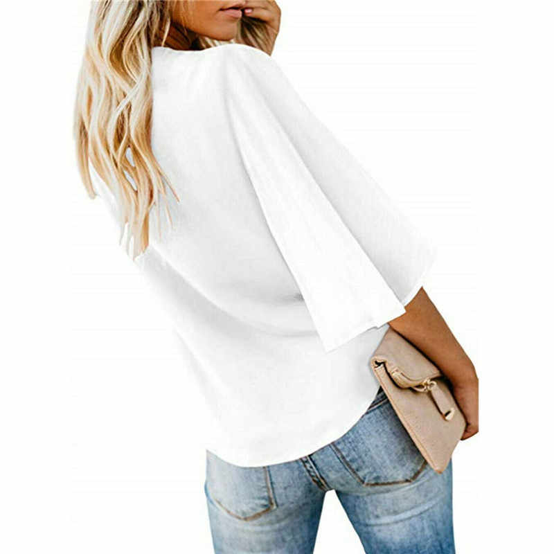 2019 Kadın şifon bluz Gömlek Moda Seksi BatwingSleeve Bayan Üstleri V Yaka Düğme Bluzlar Ofis Bayan Gömlek Artı Boyutu