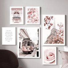 Tower Paris Rose Magnolia Flower Girl Car Nordic Posters And Prints Wall Art Canvas Painting Wall Pictures For Living Room Decor