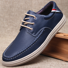 Natural Leather Mens Sneakers Low-top Men Casual Shoes British Style Breathable Handmade Full Grain Black Navy