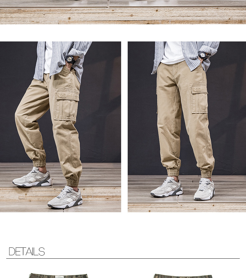 KSTUN Cargo Pants Men 100% Cotton Baggy Military Pants Khaki Camouflage Pants Casual Man Trousers Loose fit Streetwear Men Joggers 26