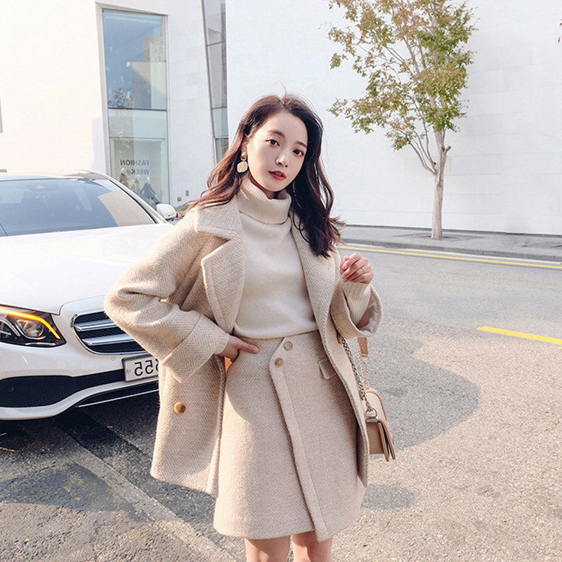 Ladies Suits Skirt Set Autumn And Winter Fashion Herringbone Pattern Long Sleeve Jacket Suit Female Casual Skirt Two-piece 2019