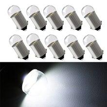 10 個BA9S led電球 3030 ガラスT4W高輝度白色 12 12v読書ドームドア計器ライトナンバープレートライトランプ電球