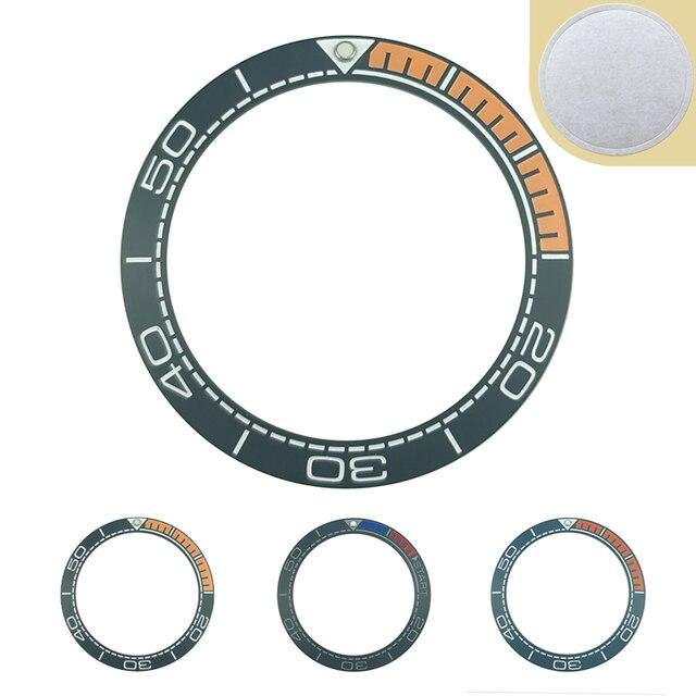 Nowy 41.5mm matowy czarny/niebieski i 1/4 pomarańczowy ceramika o wysokiej jakości wkładka Bezel dla Sea master Watch zegarki wymienić akcesoria