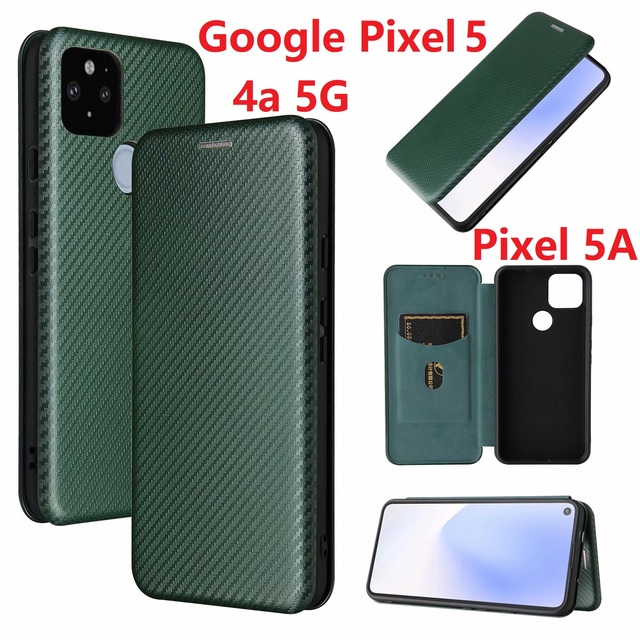 Włókno węglowe dla Google Pixel 4a 5G Case magnetyczny stojak na książki odwróć kartę portfel ochronny skóra Pixel 5 5A 4 XL okładka