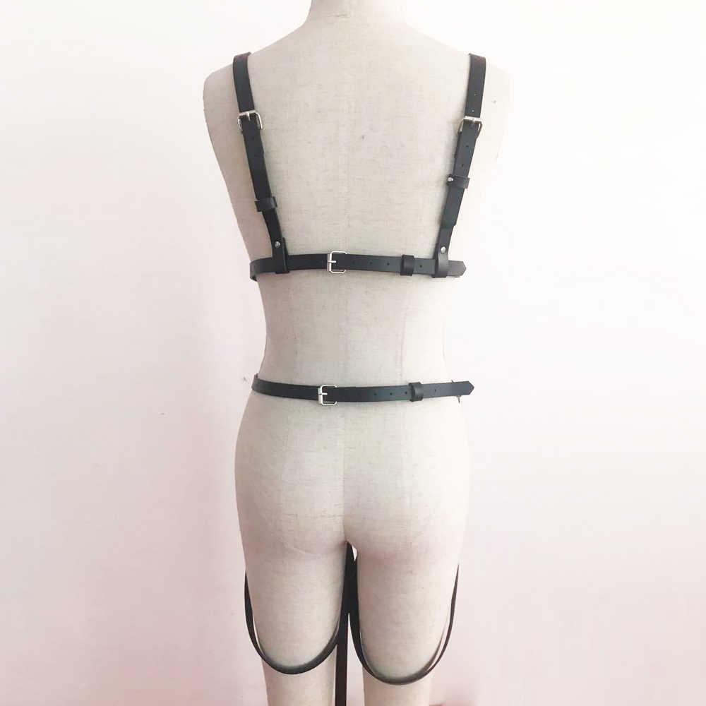 Lederen Harnas Kous Riemen Voor Vrouwen Pastel Goth Sexy Lingerie Hot Bretels Vrouwen Sexy Nachtclub Outfit Body Bondage Crop