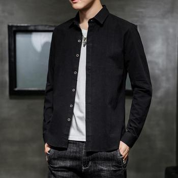2019 Autumn new men's cotton linen long-sleeved shirt fashion loose casual shirt AS2019-1-17
