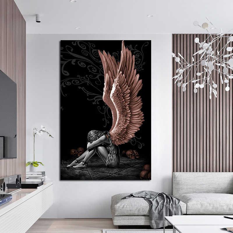 Oucag Engelen En Demonen Canvas Schilderij Abstract Portret Wall Art Pictures Cuadros Home Decor Voor Woonkamer Poster Schilderijen