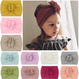 Cute Bows Baby Headband Solid Color Elastic Newborn Baby Girl Headbands Nylon Infant Hair Band Haarband Baby Hair Accessories