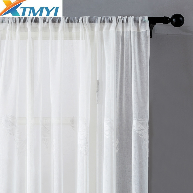 Image 3 - Tulle Curtains For Living Room Elegant Feather Kitchen Curtain For Bedroom Home Decorative Window Ready Made Curtain CustomizedCurtains   -