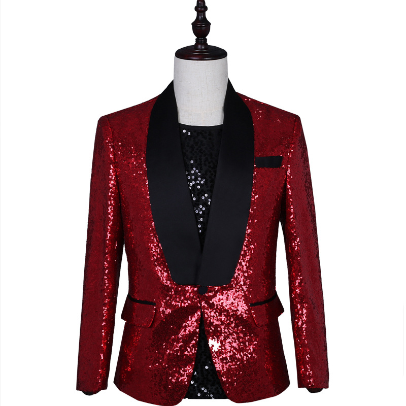 Plein vin rouge paillettes mâle discothèque danse ou Dj scène Costumes hommes brillant mince fête Blazer homme mode Costumes décontractés