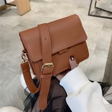 2019 New Fashion Bag Ladies Retro Shoulder Bag Simple PU Leather Bag Wild Wide Shoulder Strap Messenger Bag
