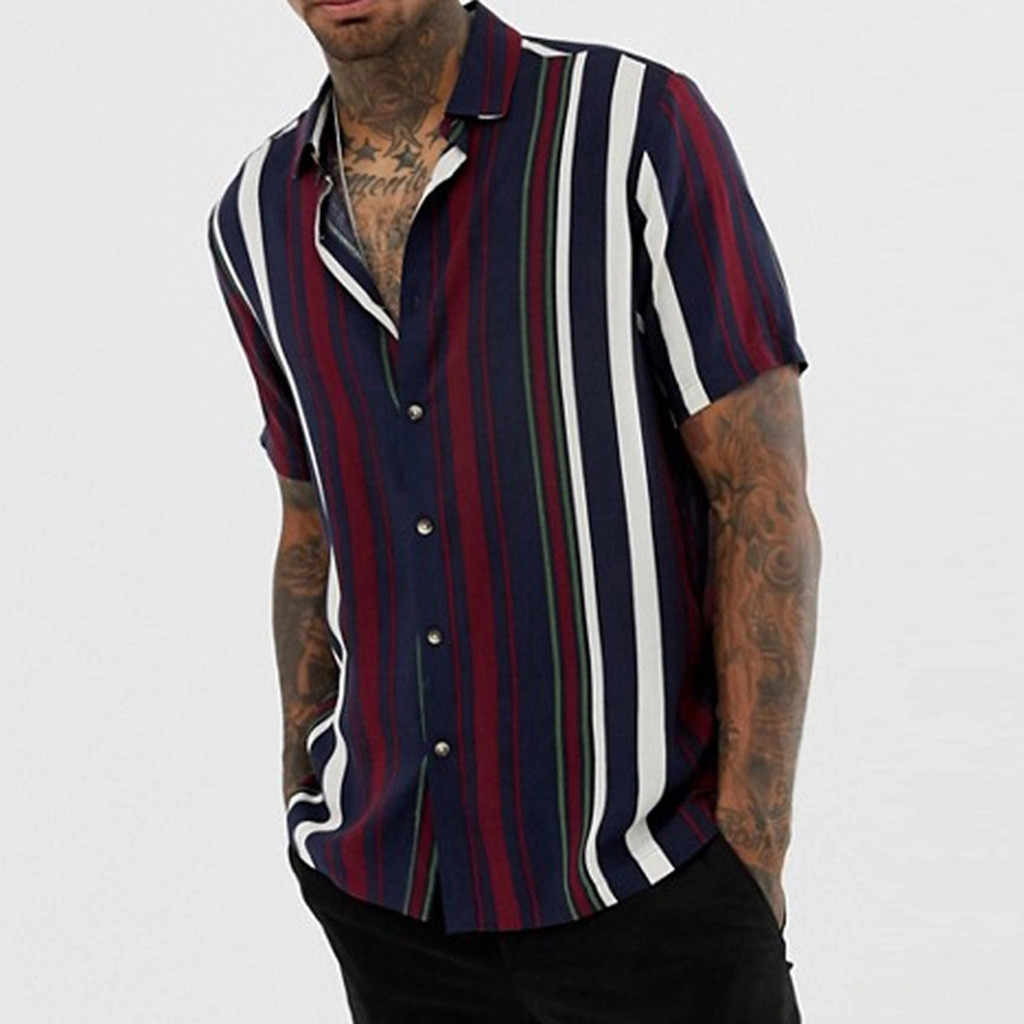 Gestreepte Solid Gedrukt Losse Shirts Slim Fit Beach Fashion Casual Brand Blouse Retro Shirt Mannen Korte Mouw Shirt Homme top