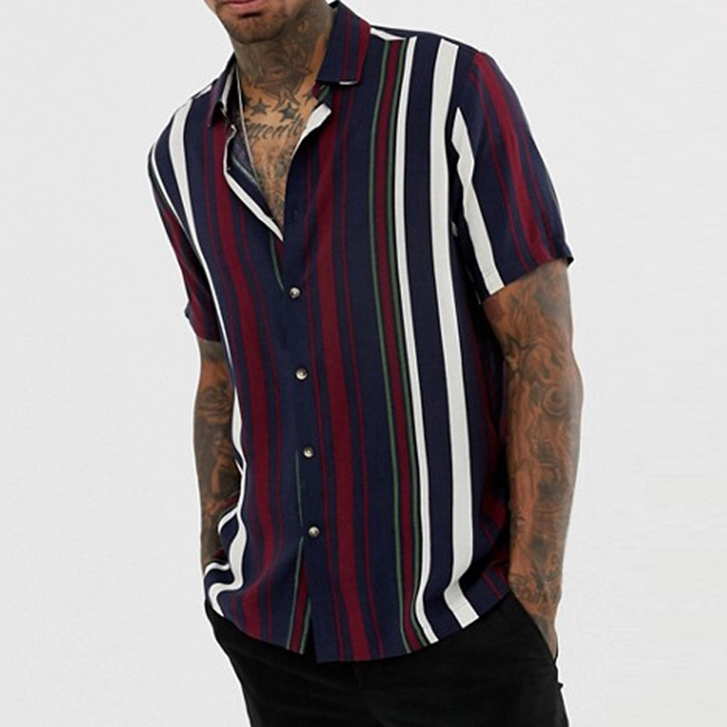 Striped Solid Printed Loose Shirts Slim Fit Beach Fashion Casual Brand Blouse Retro Shirt Men's Short Sleeve Shirt Homme Top