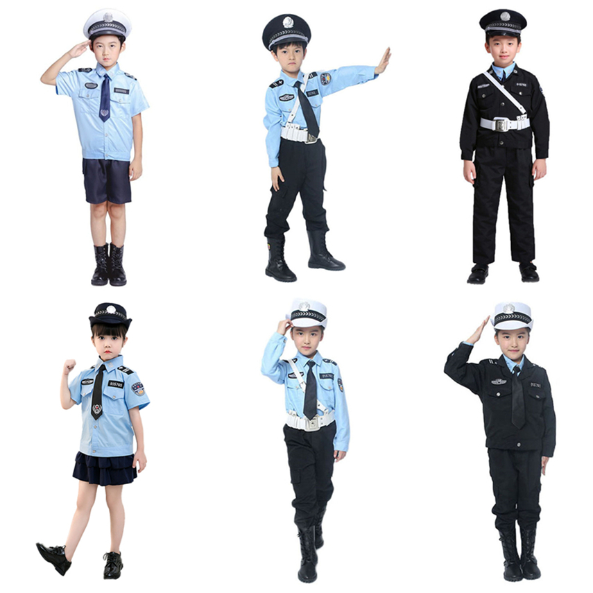 6Color Policemen Cosplay Costumes For Boys Girls Carnival Halloween Children Police Uniform Kids Traffic Army Party Clothing Set