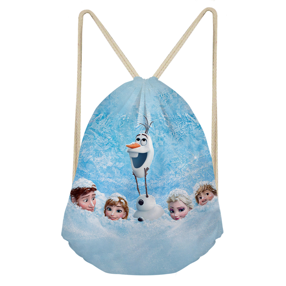 THIKIN Classic Movies Frozen 2 Print Drawstring Bags Women Daily Shoulder Bag Personalized Shopping Pouch Custom For Teenager