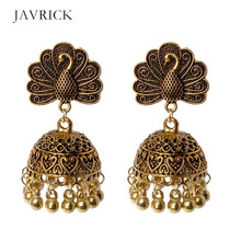 цены Boho Vintage Peacock Jhumka Indian Ethnic Bollywood Gypsy Tribal Drop Earrings Dangle Earring Jewelry Women Ear Jewelry Gift