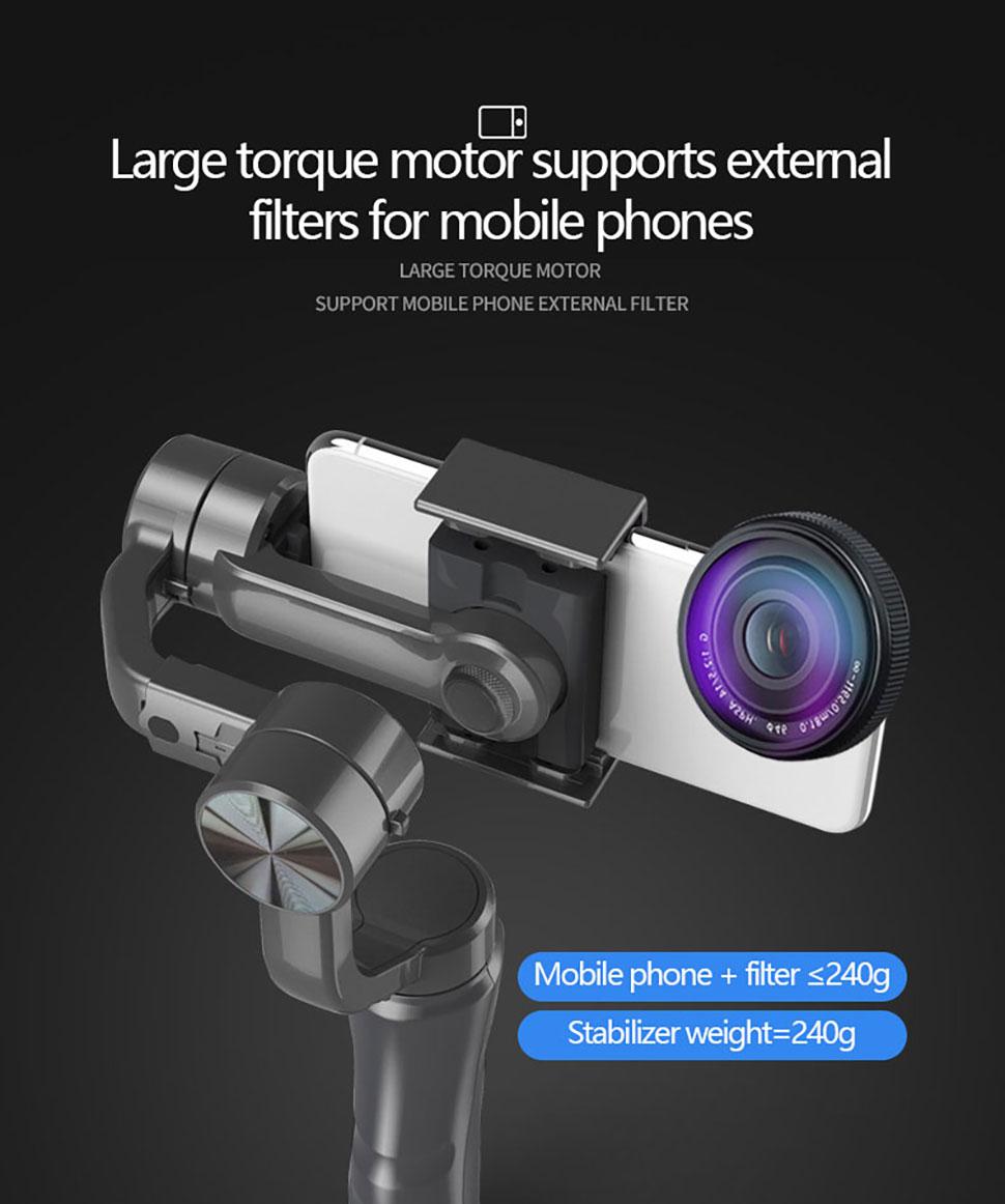 Orsda estabilizador cardan 3-axis ação smartphone câmera