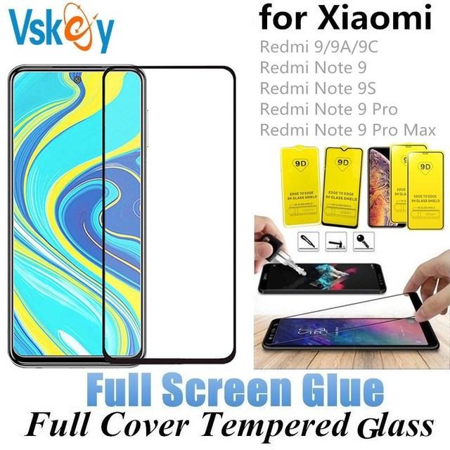 VSKEY 10pcs Xiaomi Redmi 9A 9C Redmi 참고 9S 9 프로 최대 전체 커버 화면 보호 필름에 대 한 2.5d 전체 접착제 강화 유리